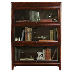 Lawyer Antique 3 Stack Birch Library or Office Bookcase, Wavy Glass, Gunn #35311