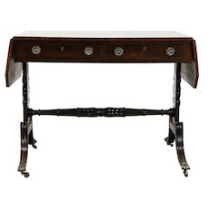 Regency Antique 1825 English Mahogany Writing Desk, Console, Sofa Table #35329