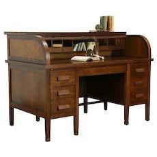 Oak Quarter Sawn Antique 1910 Office or Library C Shape Rolltop Desk #35333