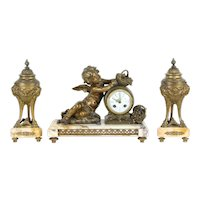 French 3 Pc Antique Marble Mantel Clock Set, Angel or Cherub Sculpture #35335