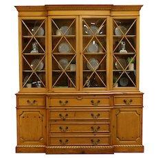 Georgian Design Pine Breakfront Vintage China Cabinet Bookcase, Saginaw #35367
