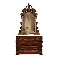 Walnut Victorian Antique Chest or Dresser, Jewelry Boxes, Mirror, Marble #35373