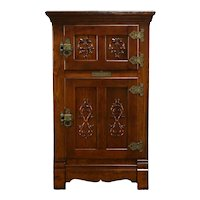 Victorian Antique Farmhouse Oak Pantry Icebox Refrigerator, Belding's  #35382