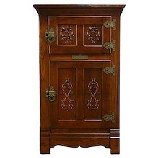 Victorian Antique Farmhouse Oak Pantry Icebox Refrigerator, Belding's  #35382