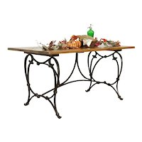 Farmhouse Iron Base Vintage Island, Dining or Library Table, Mesquite Top #35411