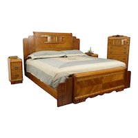 Art Deco Waterfall Design Vintage 4 Pc. Bedroom Set, King Size Bed #35421