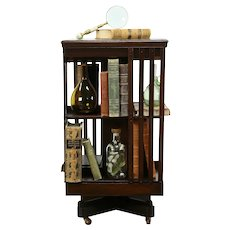 Traditional Mahogany Antique Spinning or Revolving Chairside Bookcase #35433