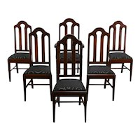 Set of 6 Traditional Antique Mahogany Dining Chairs, New Upholstery #35573