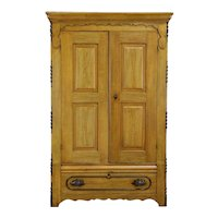 Victorian Antique Farmhouse Armoire, Wardrobe or Closet, Original Paint #35581
