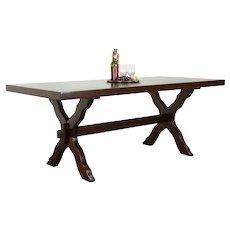 Oak Farmhouse Vintage Dutch Craftsman Dining Table or Library Desk  #35584