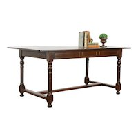 Farmhouse Antique French Oak Country Dining or Office Library Table #35587