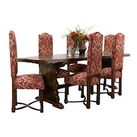 Spanish Colonial Farmhouse Oak Dining Set Table 6 Chairs, New Upholstery #35596