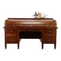 Craftsman Antique Quarter Sawn Oak C Roll Top 6' Office or Library Desk #35630