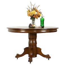 Victorian Antique 4'' Round Oak Dining Table, 2 leaves, Lion Paw Feet #35652