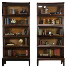 Pair of Antique Oak 5 Stack Globe Wernicke Lawyer Bookcases, Wavy Glass  #35694