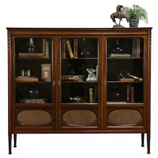 Carved Mahogany Antique 1910 Triple Office Bookcase, Wavy Glass #35714