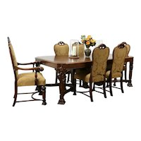 Renaissance Carved Antique Walnut Dining Set, Table, 6 Chairs, New Fabric #35758