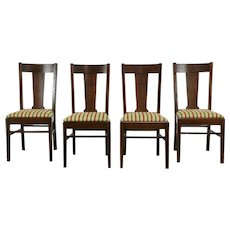 Set of 4 Arts & Crafts Mission Oak Antique Craftsman Dining / Game Chairs #35810