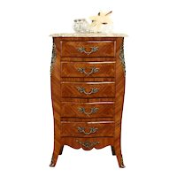 Louis XV Design Antique French Lingerie Chest or Nightstand, Marble Top #35823