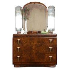 Art Deco Waterfall 1935 Vintage Dresser, Triple Mirror, Bakelite, Albert #35878
