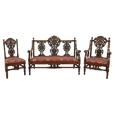 Renaissance Antique Oak 3 Pc Salon Parlor Set Loveseat or Settee 2 Chairs #35922