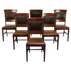 Set of 6 Craftsman Antique Quarter Sawn Oak Dining Chairs, Leather, Dunn  #35933