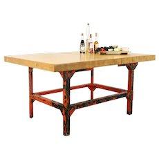 Butcher Block Vintage Industrial Salvage Work Table, Kitchen Island #35988