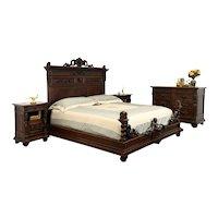 Renaissance Antique Italian Bedroom Set, King Bed, Dresser, Nightstands #36025