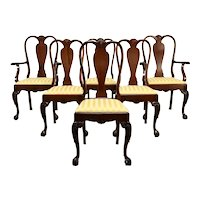 Set of 6 Georgian Chippendale Vintage Dining Chairs, New Upholstery #36047