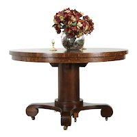 Oak 4' Round Antique Pedestal Dining Table, 6 Leaves, Extends 10' #36054