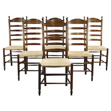 Set of 6 Farmhouse Oak Rush Seat Vintage Ladder Back Dining Chairs #36055
