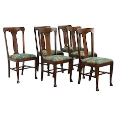 Set of 6 Oak Antique Craftsman or Farmhouse Dining Chairs, New Upholstery #36108