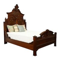 Victorian Antique Carved Walnut & Grained Burl Queen Size Bed #36114