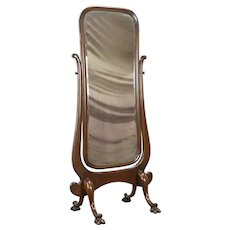 Oak Antique Swivel Cheval Beveled Dressing Mirror, Carved Lion Paws #36118