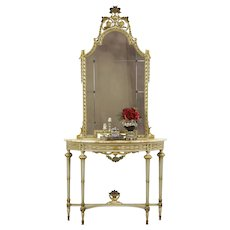 Hand Painted Antique Marble Top Italian  Hall Console & Mirror #36122