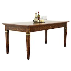 Rosewood Marquetry Antique Italian Desk, Dining or Library Table #36128