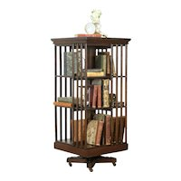 Oak Antique 1890 Spinning or Revolving Library or Office Bookcase #36259