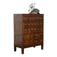 Oak Antique 27 Drawer Office or Collector File Cabinet, Globe Wernicke #36279