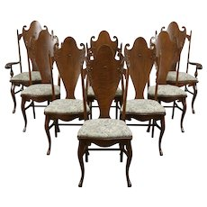 Set of 8 Art Nouveau Antique Carved Oak Dining Chairs, New Upholstery #36286