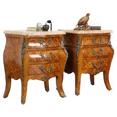 Pair Vintage Bombe Tulipwood Marquetry Chests or Nightstands, Marble Tops #36289