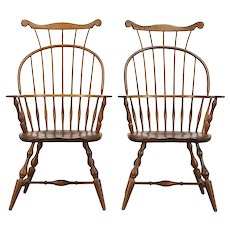 Pair Vintage Farmhouse Windsor Highback Dining Chairs, Nichols & Stone  #36373