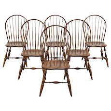 Set of 6 Vintage Farmhouse Windsor Dining Chairs, Nichols & Stone #36376