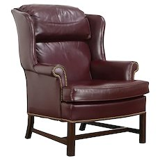 Leather Vintage Wing Chair, Brass Nail Heads, Woodmark Originals #36391