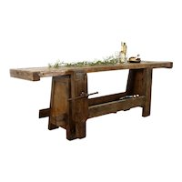 French Industrial Salvage Antique Workbench, Island, Wine & Cheese Table #36436