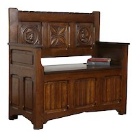 Oak Antique Dutch Dowry Hall Bench, Storage under Seat, Carved Faces #36445