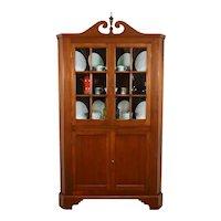 Traditional Vintage Walnut Corner China Cupboard or Display Cabinet #36476