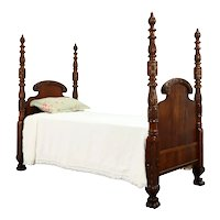 Empire Antique 1820 Acanthus Carved Mahogany Twin Bed #36626