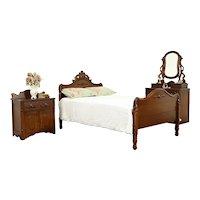 Victorian Antique Walnut 3 Pc Bedroom Set, Full Size Bed, Carved Pulls #36670