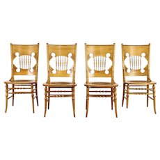 Victorian Set of 4 Carved Birch Dining or Game Chairs, Leather Seats #36717