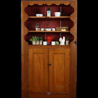 Farmhouse Antique Butternut Primitive Cupboard Kitchen Pantry Cabinet #36831